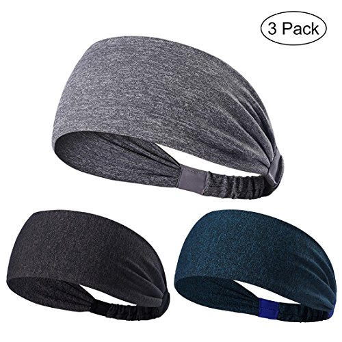 Fascia 3pcs non slip unisex stretch elastico sport fascia head bands head wrap per yoga, pallacanestro, running, calcio, tennis – accessori per capelli