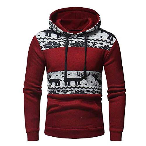 Männer Hoodie Baumwolle Weich und Warm Für Freizeitkleidung,Red,XXL