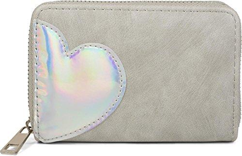 styleBREAKER Mini Geldbörse mit irisierender Metallic Herz Applikation, Reißverschluss, Portemonnaie, Damen 02040109, Farbe:Hellgrau -