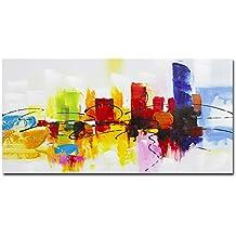 fokenzary pintado a mano colorido abstracto pintura sobre lienzo Bright Lihgt rojo verde azul para el café decoración de la pared enmarcado y listo para colgar, lona, azul, 12x24in