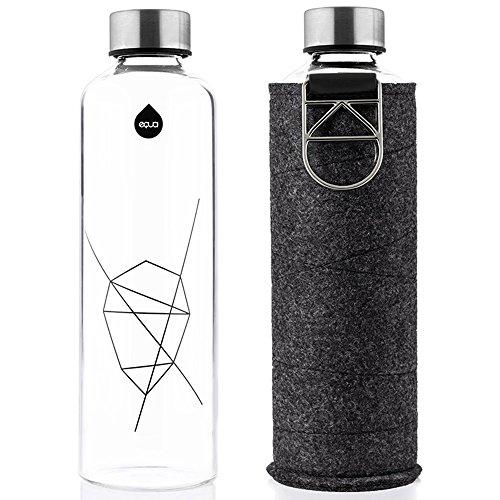 EQUA Trinkflasche Mismatch Silver 750 ml - Glasflasche mit Schutzhülle - Wasserflasche mit Filzhülle - Designer Trinkflasche aus Borosilikatglas 0,75 L (750 Ml Glasflaschen)