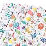 RUSPEPA Fogli di carta da regalo regalo -Cute Design per compleanno, vacanze, Baby Shower Gift Wrap - 6 Folded fogli-50 CM X70CM
