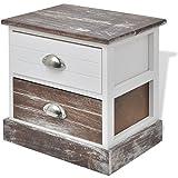 Anself Nachttisch Nachtschrank Nachtkonsole Beistelltisch aus Holz Landhausstil mit Schubladen Braun und Weiß