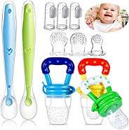 11 Pack Baby Food Feeder Fruit Feeder Pacifier Set, with 3*Pacifier Feeder Teething Toys for Baby, 3*Silicone
