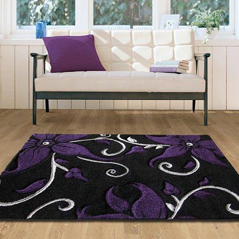 Elegant Black Purple Blossom Hallway Rug - 180 cm x 270 cm (5'11