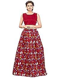 Nplash Fashion Women's Party Wear Semi-Stitched Lehengha choli(Free_Size)-red