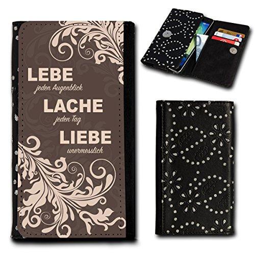 Strass Book Style Flip Handy Tasche Case Schutz Hülle Foto Schale Motiv Etui für Medion Life X5020 - Flip SU5 Design1
