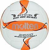 Molten BV2500-FOR - Pelota de Volley Playa (Talla 5), Color Blanco, Naranja y Plateado