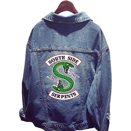 Riverdale Serpent Veste en Jean Homme Femme South Side Serpents Chic Pas Cher Ado Blouson Manteaux Sweat-Shirt (2#)