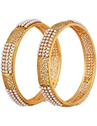 Efulgenz Ethnic One Gram Gold Plated Pearl Studded Traditional Bangles For Women And Girls