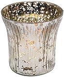 Insideretail TLA05MMSET6 Teelichthalter mit Distressed Blattsilber, 6,5 x 6,5 cm, 6-er Set, mercury silber