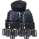 REKYO 1 Inch Wide 10 Yards Black Nylon Heavy Webbing Strap + 12 PCS 25mm Release Buckles and Adjustable Buckles