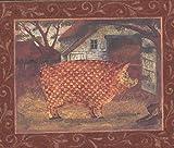 Chesapeake Mosaik-Bauernhof-Tiere-Bilder auf rote Wand Bauernhaus Wallpaper Border Retro-Design, Roll-15' x 6,5 ''