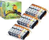 Pack DE 18 avec Grise (3 DE Chaque Couleur) Cartouches d'encre Canon CLI-526 PGI-525...
