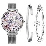 Kaifanxi Damen Uhren Quarz-Armbanduhr Saphirglas zarte Blumen Zifferblatt Design mit Geschenk Armband für Frauen Mesh-Band