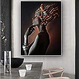 wuzhaodi Quadri in Tela Quadri modulari Arte della Parete Donna Africana Ritratto Indiano Poster HD Stampe Home Decor per Camera da Letto 50x70cm