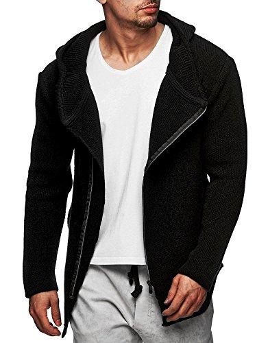 S!RPREME Herren Oversize Zipped Strickjacke mit Kapuze Pullover Jacke Hoodie Hoody 8024CECE Schwarz S