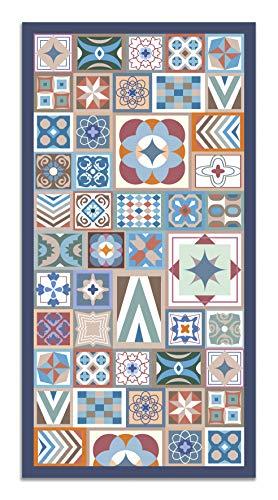 Panorama Alfombra Vinílica Estilo Hidráulico Color Multicolor 80 x 200 cm - Alfombra Cocina Vinilo...