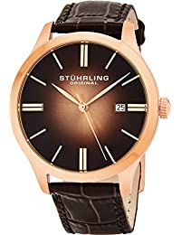 Stuhrling Original Classic Cuvette II Men's Quartz Watch with Brown Dial Analogue Display and Brown Leather Strap 490.3345K14