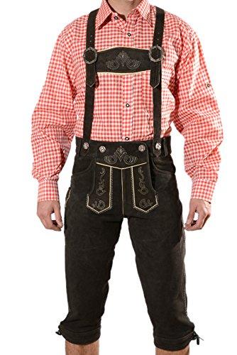 Bayerische Herren Trachten Lederhose, Trachtenlederhose mit Trägern, original in Dunkelbraun, Oktoberfest, Größe 60