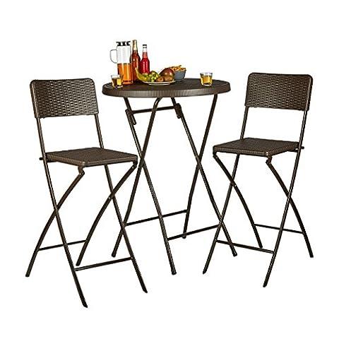 Relaxdays Chaise de bar lot de 2 avec dossier pliante pliable BASTIAN tabouret 78 cm hauteur, marron