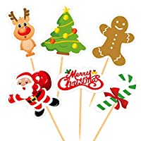 FEPITO 60 Pieces Christmas Cupcake Toppers Picks Merry Christmas Toothpick Flags for Christmas Cake Decorations Christmas Party Holiday Supplies