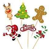 FEPITO 60 pezzi di Natale cupcake toppers raccoglie buon natale stuzzicadenti bandiere per decorazioni torta di natale festa di natale forniture per feste