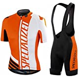 veinater hombre manga corta ciclismo Jersey y pantalones cortos en bicicleta babero Kit naranja, hombre, color naranja, tamaño large