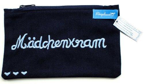 Ringelsuse - originelles Kosmetiktäschchen Mädchenkram Schminkbeutel Schminktasche Kosmetiktasche für Mädchen Damen Frauen, 12 x 20 cm, 100% Baumwolle Fairtrade dunkelblau