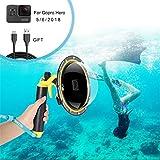 Dome Port Wasserdichtes Gehäuse für GoPro Hero6 / Hero 5, Unterwassergehäuse für GoPro Zubehör mit Triggerpistole und Floating Grip Unterwasser Fotografie. (for GoPro Hero 5 6)