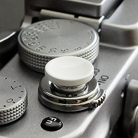 Métallique Soft Déclencheur en blanc (concave, 10mm) pour Leica M-Serie, Fuji X100, X100S, X100T, X10, X20, X30, X-Pro1, X-Pro2, X-E1, X-E2, X-E2S et tous les appareils photos avec la bouche filetage conique