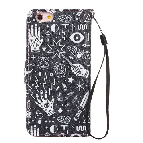 Gift_Source iPhone 6 hülle, iPhone 6S hülle, Brieftasche Ledertasche Bookstyle Schutzhülle Leder Flip case Etui for Apple iPhone 6S/6 4.7 inch [ Blaue und gelbe Sand ] E01-01-Graphic design