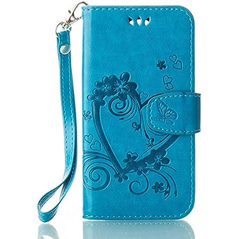 Custodia LG K7,LG K7 Cover,Cozy Hut® Custodia LG K7 con Strap, LG K7 Flip Custodia Cover Case, Creative Disegno stampa stile del libro Portafoglio Cover Case in PU Cuoio Wallet Caso copertina con funzione di supporto e morbido TPU cassa interna per LG K7 - blu