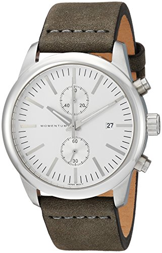 Momentum Mens Analog Japanese-Quartz Watch with -Leather Strap 1M-SN26S4G