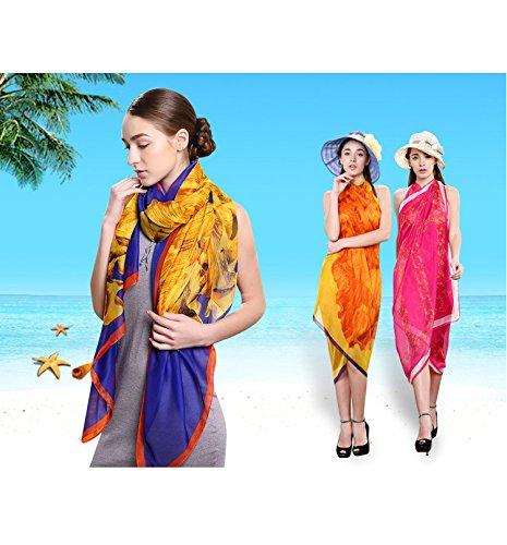 UK_Stone Damen Übergroesse Luxus Sarong Pareo Strandtuch Wickeltuch Bikini Sonnenschutz Decke Cover-up Boho Blau
