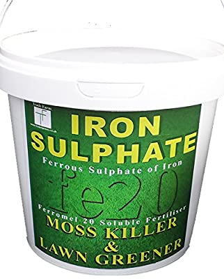 Iron Sulphate 1 KG Tub PURE MOSS KILLER - 500-1000 Sq mtrs - Sulphate of Iron Lawn Feed, Conditioner and Moss Killer - Contains Ferrous Sulphate of Iron: Dry Powder and easily soluble in water