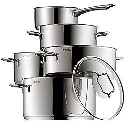 WMF Astoria Topfset, 5-teilig, mit Glasdeckel, Kochtopf, Stielkasserolle, Cromargan Edelstahl poliert, induktionsgeeignet, spülmaschinengeeignet