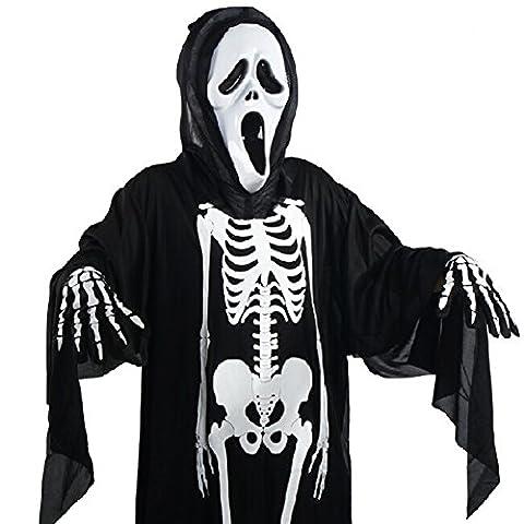 Unisex-Erwachsene Kinder Skelett Halloween-Kostüm, Unheimlich Bone Totenkopf fancy Up Party Kleid Halloween-Kostüm Outfit, 90cm for (Halloween-kostüme Für Zwei Kinder)
