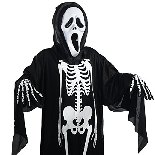 Unisex-Erwachsene Kinder Skelett Halloween-Kostüm, Unheimlich Bone Totenkopf fancy Up Party Kleid Halloween-Kostüm Outfit, 120cm for adult
