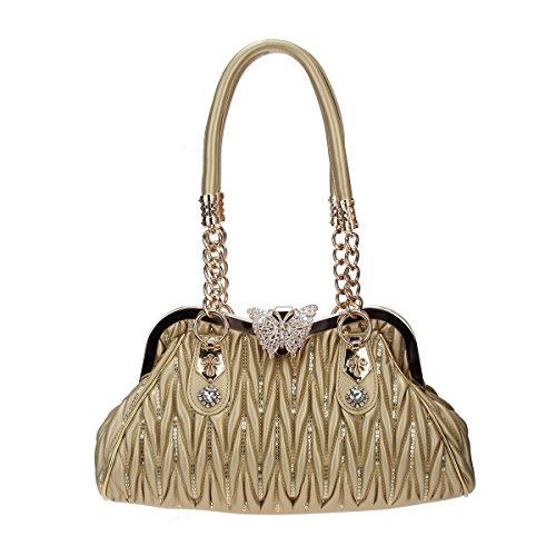Bonjanvye Butterfly Shoulder Bags Crossover Bag for Women Handbags Pu Leather Gold (Coach Geldbörse Schwarz Silber)