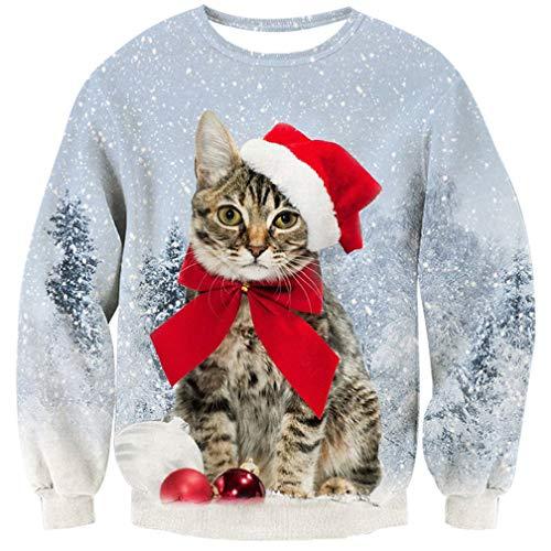 (Goodstoworld Christmas Sweater Hässliche 3D Herren Damen Katze Weihnachtspullover Ugly Pullover Weihnachten Jumper Unisex XL)