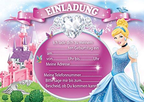 10 Einladungen zum Kindergeburtstag Aschenputtel Cinderella (mit rosa Umschlägen) (Cinderella-geburtstag Einladungen)