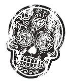 Desgastado Antiguo Negro Mexicana Día de los Muertos Azúcar Calavera Impreso Vinilo Coche Moto Pegatina 120x90mm Apróx