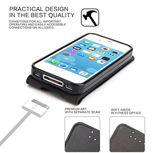 Custodia iPhone 4 - SUPAD® Ultra sottile Custodia Flip Case In Pelle per Apple iPhone 4/4S (Nero) Nero