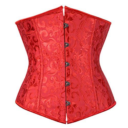 Damen Korsage Unterbrustkorsett Satin Bauchweg Corsage Waist Cincher Top Tailenmieder Dessous Rot (S) (Satin-mieder Rote)