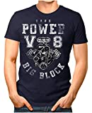 Legendary Items Herren T-Shirt True Power V8 Big Block Printshirt Motorblock Vintage Verwaschen Navy XL