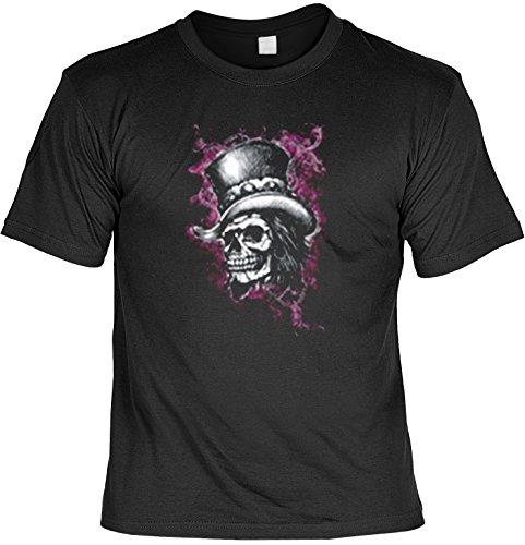 Biker Shirt /T-Shirt/Baumwoll-Shirt lässiger Gothic-Aufdruck: Skull - cooles Totenkopf- Motiv Schwarz