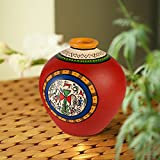 ExclusiveLane 6 Inch Terracotta Handpainted Warli Matki Shaped Vase In Red - Flower Pots Home Decorative Pieces Gift Item