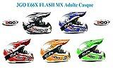 moto casque 3GO E66X FLASH MX Adulte casque moto motocross sport quad enduro ECE ACU casque certifié + X1 lunettes NOIR (Blanc / noir, M)