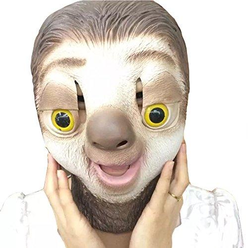 Halloween Party Masquerade Masken Latex Jaffaite Plastik Mardi Gras Masken Lustige Scary Haunted Haus Gesichtsmaske Kopfbedeckung Dekorationen Moive Film Zootropolis Faultier (Für Ideen Männer Kostüme Gras Mardi)